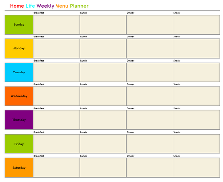 Free Weekly Menu Planner Home Life Weekly