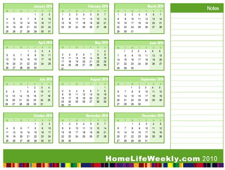 Free Printable Calendar 2010 « Home Life Weekly