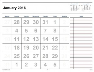 monthly calendar to print 2016