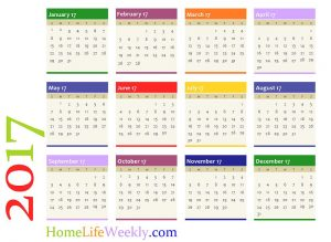 calendar 2017 single page
