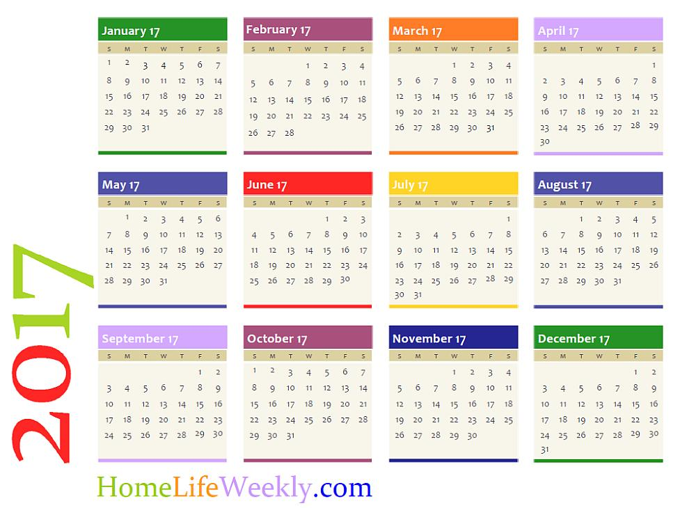 Printable Calendar 2017 Home Life Weekly