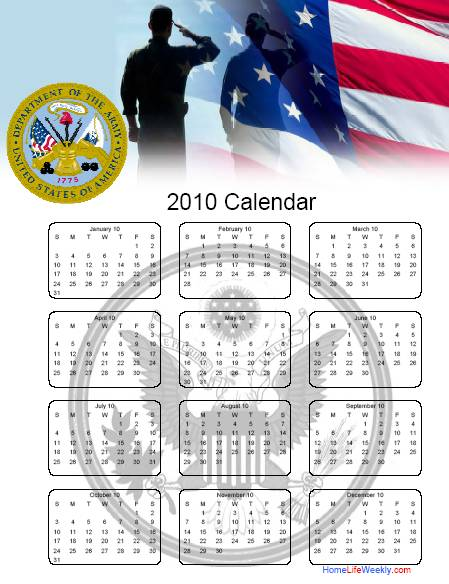 home life weekly  u00bb military calendar 2010 free printables