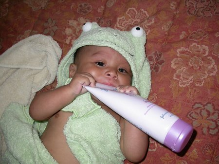 Baby with lotion