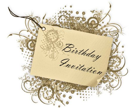 birthday invitation card with swirls