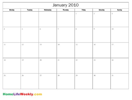 Free Printable Calendar   Home Life Weekly