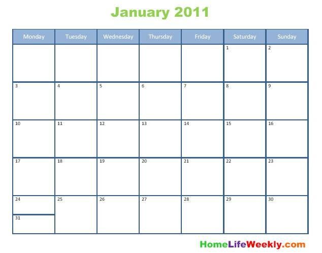 Blank Calendar 2011 printable free download