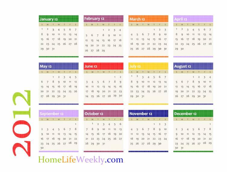 Calendar 2012 Printable Download