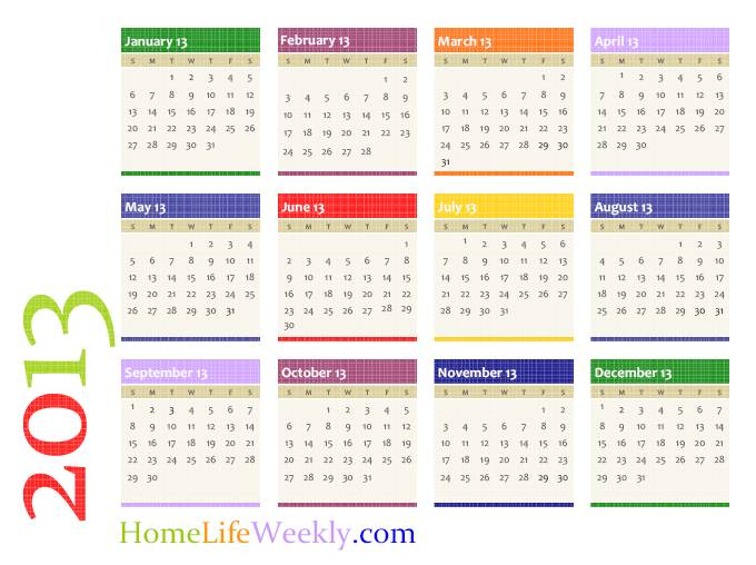 Calendar 2013 Printable Download