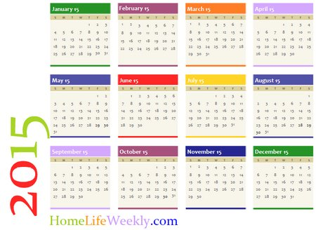 Printable Calendar 2015 Home Life Weekly