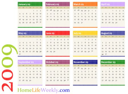 Another colorful free calendar of the year which is printable on a single