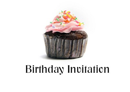 Children birthday cup cake invitation