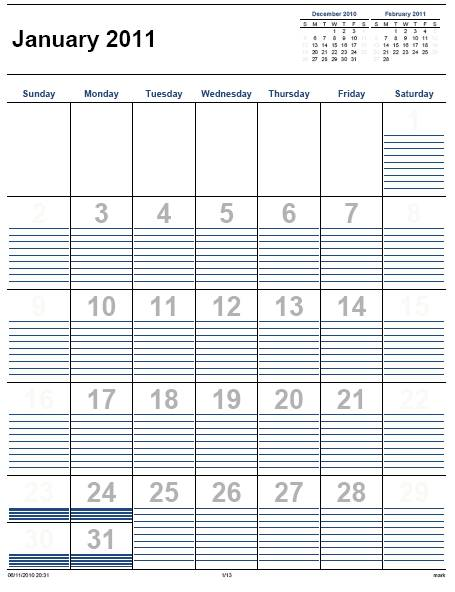 Printable Calendar 2011 Home Life Weekly – Printable Monthly Calendars