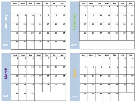 Free Monthly Calendar in fours