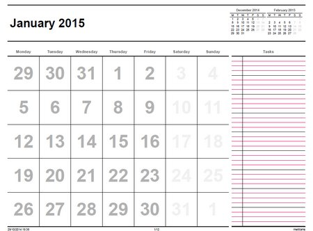 monthly calendar to print 2015