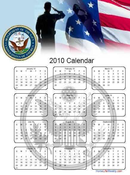 home life weekly  u00bb military calendar 2010 free printables