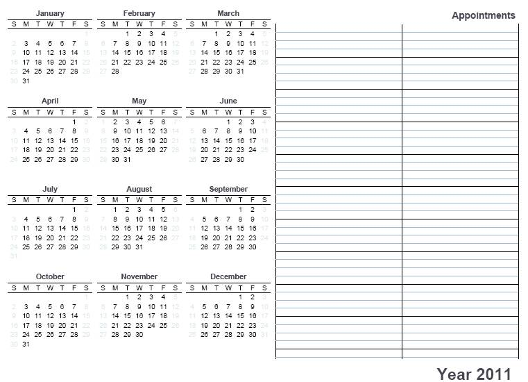 This 2011 full year free printable calendar has all the months on one single