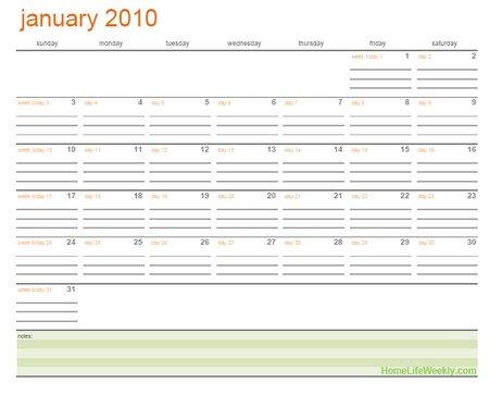 2010 printable calendars