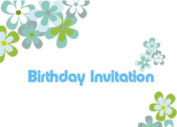 Funky Flowers Green Printable Birthday Invitations