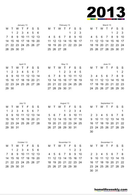 2013 Free Printable Calendar whole sheet