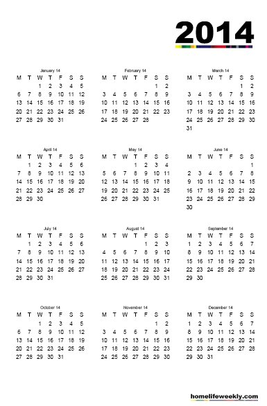 2014 Free Printable Calendar whole sheet