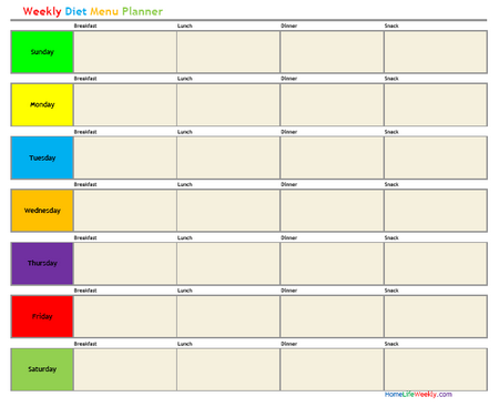 Weekly Diet Menu Planner « Home Life Weekly