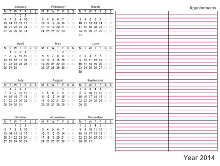 Whole Sheet Printable Calendar 2014