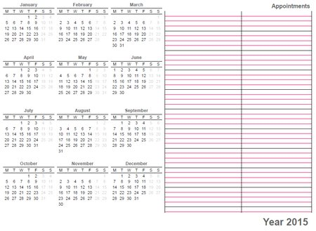 whole sheet printable calendar 2015