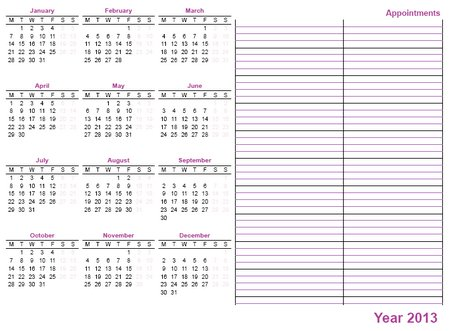 whole sheet printable calendar 2013