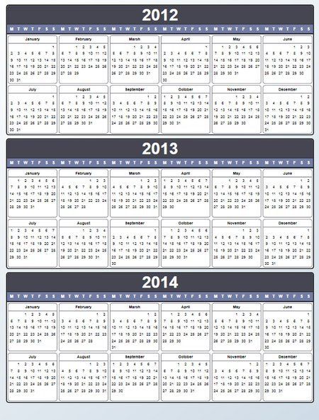 Yearly Calendar 2012 2013 2014 Printable