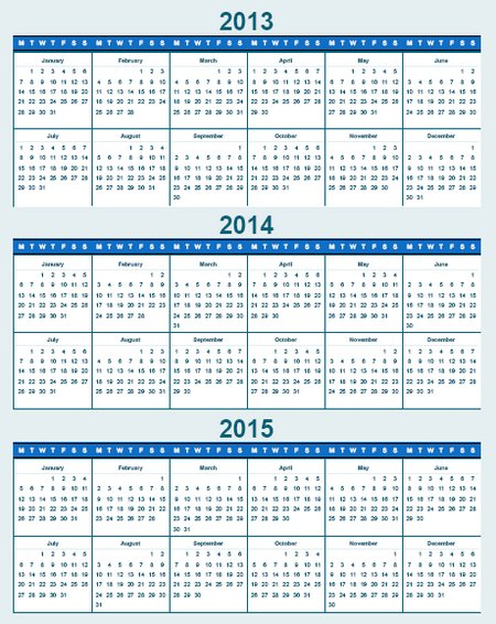 Year Calendar 2013 2014 2015 Download